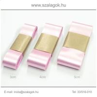 3cm széles szatén szalag 10m C14B-rózsaszín