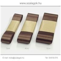 3cm széles szatén szalag 10m C27-barna