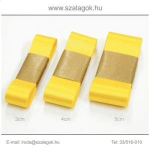 4cm széles szatén szalag 10m C30-napsárga