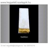 10cm x 220 cm  lasszé hímzett (arany) koszorúszalag 5db/csomag