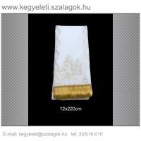 12cm x 220 cm  lasszé hímzett (arany) koszorúszalag 5db/csomag