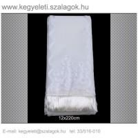 12cm x 220 cm  lasszé hímzett (fehér)  koszorúszalag 5db/csomag