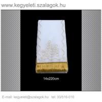 14cm x 220 cm  lasszé hímzett (arany) koszorúszalag 5db/csomag
