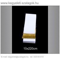 10cm x 220 cm  koszorúszalag, arany rojttal. 10db/csomag