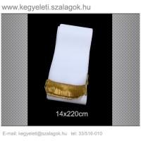14cm x 220 cm  koszorúszalag, arany rojttal. 10db/csomag