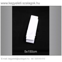 5cm x 150 cm  sírcsokor szalag, fehér rojttal. 10db/csomag