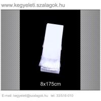 8cm x 170 cm  sírcsokor szalag, fehér rojttal. 10db/csomag